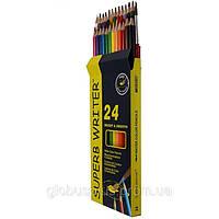 Карандаши цветные 24 цвета MARCO 4120-24CB Superb Writer Aquarelle, акварельные с кисточкой
