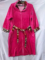 Женский велюровый халат с воротником и леопардовой отделкой, фото 1