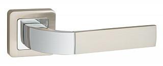 Ручка дверная на раздельном основании Punto - Orion QR SN/CP 3 (матовый никель - хром)