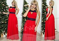 Червоне батальне вечірнє плаття зі вставками гіпюру. Арт-9329/65