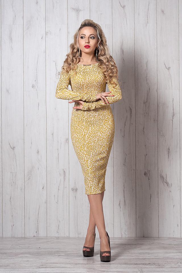 Нарядное платье из жаккардовой ткани с длинным рукавом и юбкой за колено