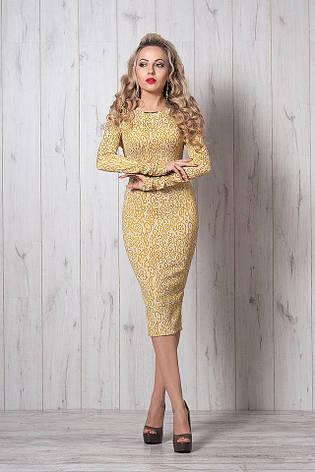 Нарядное платье из жаккардовой ткани с длинным рукавом и юбкой за колено, фото 2