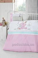 Детское постельное белье Luoca Patisca Emmy розовое с 3D вышивкой Детский комплект