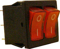KCD8 Переключатель 2 клавишный (красн/красн с подсветкой)