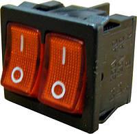 KCD9 Переключатель 2 клавишный (красный с подсветкой)