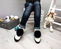 Женские зимние ботиночки  с натуральной меховой отделкой (песец). Натуральная кожа.