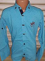 Стильная стрейчевая рубашка для мальчика 6-14 лет (бирюза саламандра) (пр. Турция)