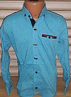 Стильная стрейчевая рубашка для мальчика 6-14 лет (бирюза01) (пр. Турция)