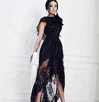 Оригинальное длинное платье дорогое французское кружево с асимметричным подолом