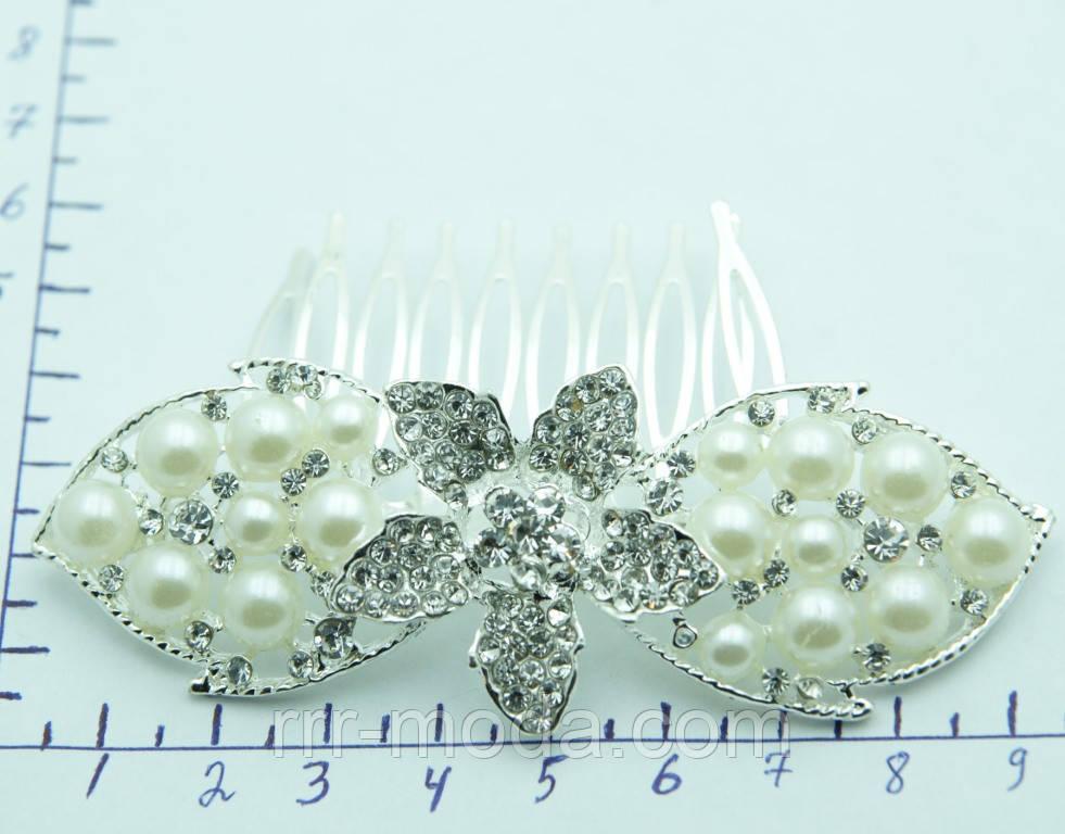Торжественные свадебные гребешки с жемчугом. Свадебная бижутерия RRR. 352