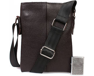 Компактная мужская кожаная сумка через плечо коричневая