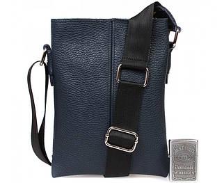 Компактная мужская кожаная сумка через плечо синяя
