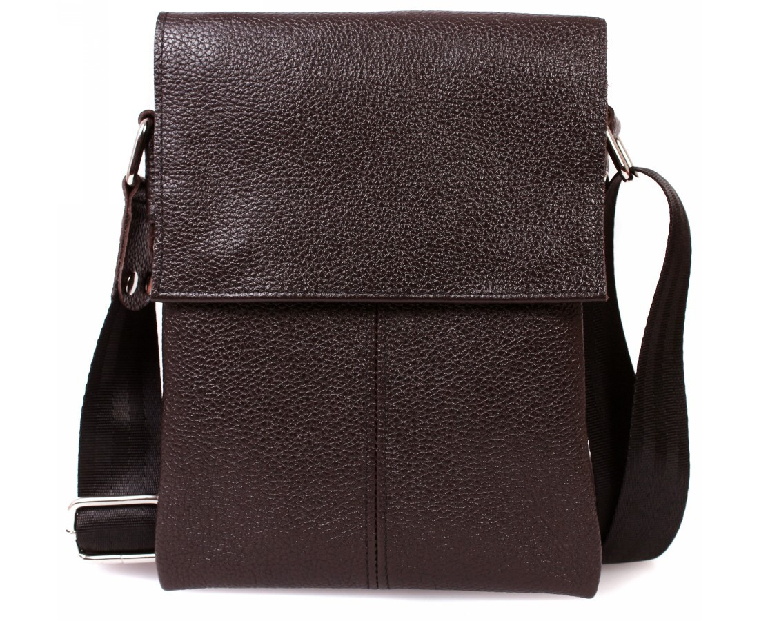 Небольшая мужская кожаная сумка через плечо коричневая