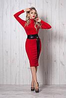 Модное стильное теплое платье под горло р.44