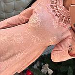 Женское стильное жаккардовое платье с кружевом и жемчугом (2 цвета), фото 2