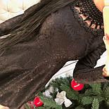 Женское стильное жаккардовое платье с кружевом и жемчугом (2 цвета), фото 4