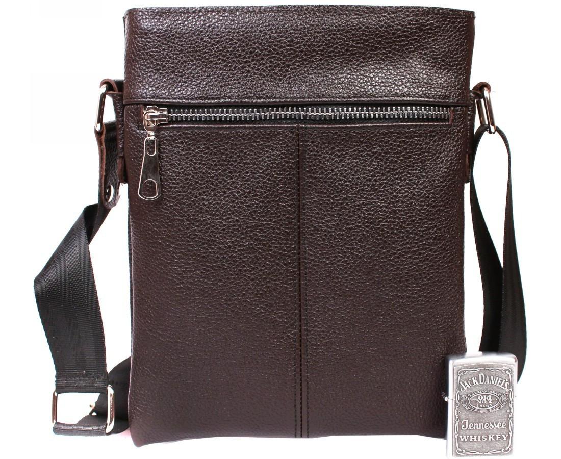 Стильная мужская кожаная сумка формата А5 коричневая