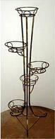 Кованная подставка для цветов на 5 вазонов (башня+листки)