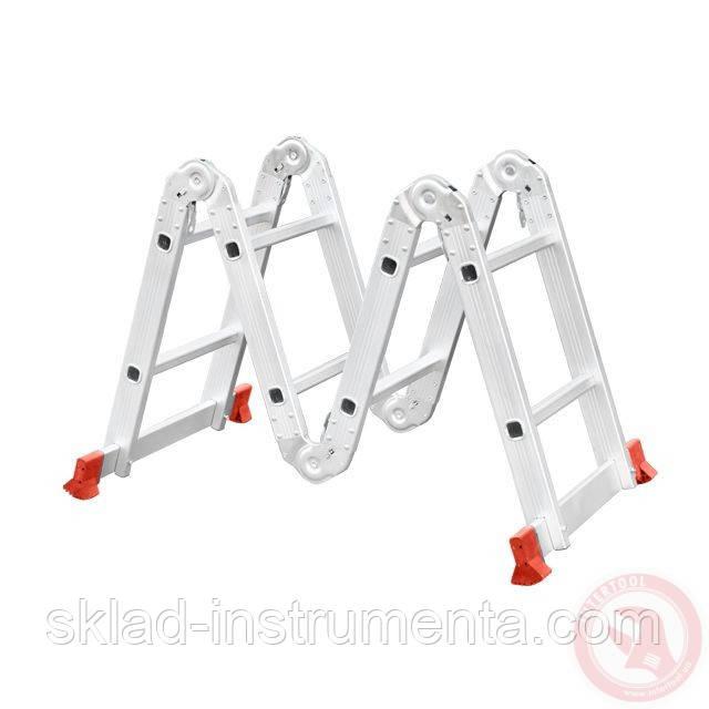 Лестница алюминиевая мультифункциональная трансформер 4x2 ступ. 2,50 м