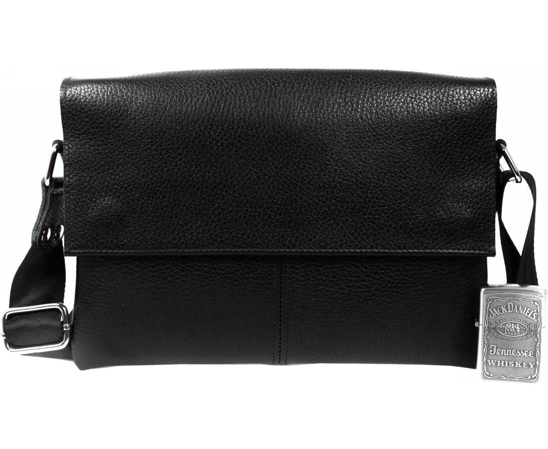 Практичная мужская кожаная сумка горизонтальная черная