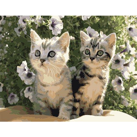 Картина-раскраска по цифрам Маленькие котята