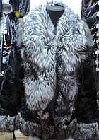 Шуба из меха козлика с воротом из чернобурки