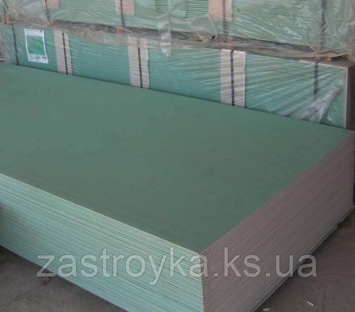 Гипсокартон, стеновой, влагостойкий. 12,5 мм (1.2*2.5) knauf