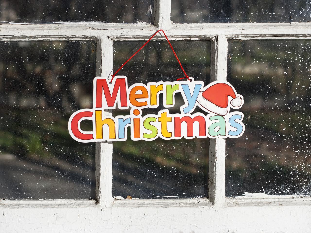"""Декоративная табличка-подвеска """"Merry Christmas"""", 38×14×0.5 см - """"Дерево вітань"""", интернет-магазин в Одессе"""