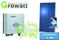Growatt + Perlight Solar комплект солнечной электростанции для дома (3 кВт)