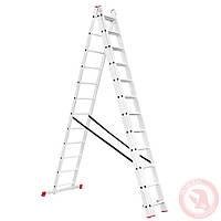 Лестница алюминиевая 3-х секционная универсальная раскладная 3*12 ступ. 7.89м