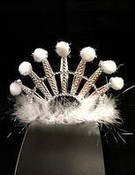 Корона снежной королевы, звезда белый пух, высота 10 см, пластик