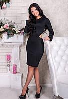 Черное приталенное платье пр фигуры длинный рукав