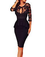 Вечернее Кружевное Миди Платье с Баской из каталога маленькое черное платье MD-60609