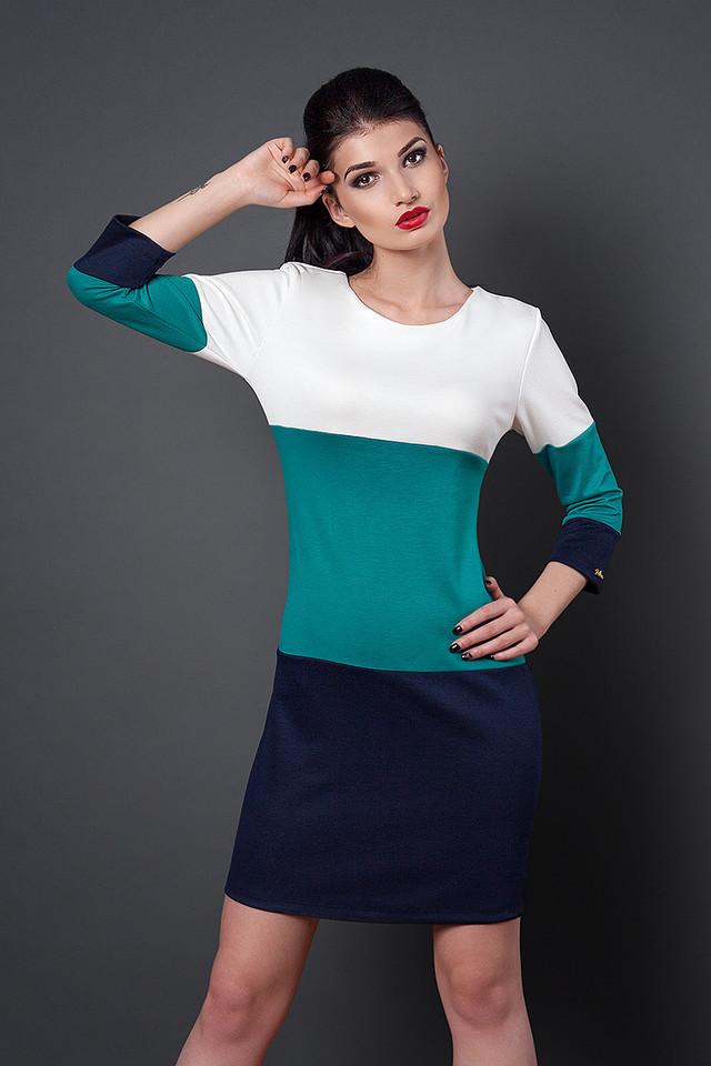 Цветное модное трикотажное молодежное платье - Exclusive в Хмельницком