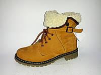 Кожаные женские зимние коричневые стильные ботинки на низком ходу