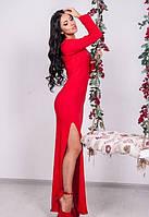 Женское платье длинное красное с вырезом на бедре по фигуре