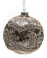 Елочные стеклянные шары с кружевом 8 см, 6 штук