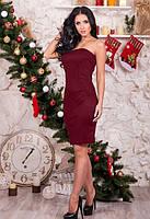 Женское бордовое платья по фигуре