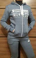 Женский спортивный костюм на змейке светло серый