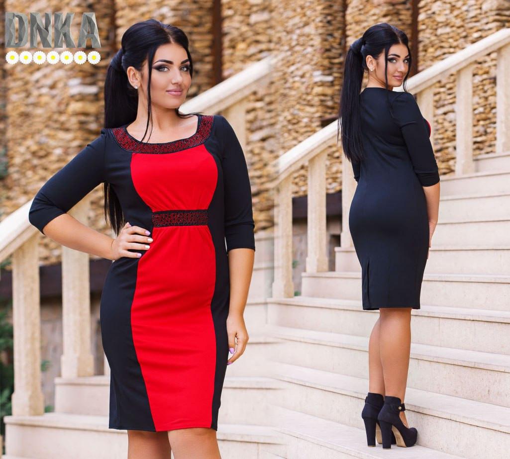 Модное платье с камнями №385.1больших размеров (2 цвета) - Леди Плюс в Одессе