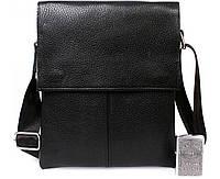 Повседневная мужская кожаная сумка-планшет черная