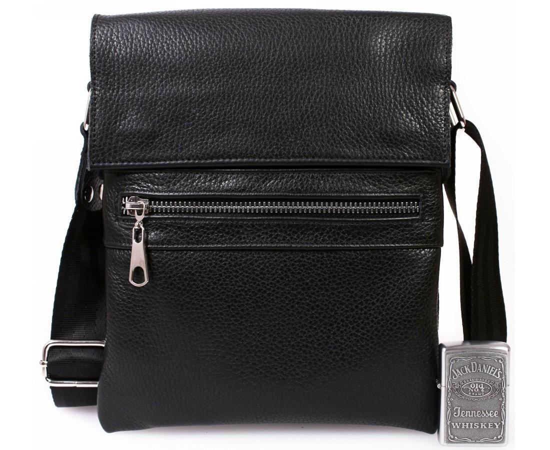 Современная мужская кожаная сумка-планшет черная