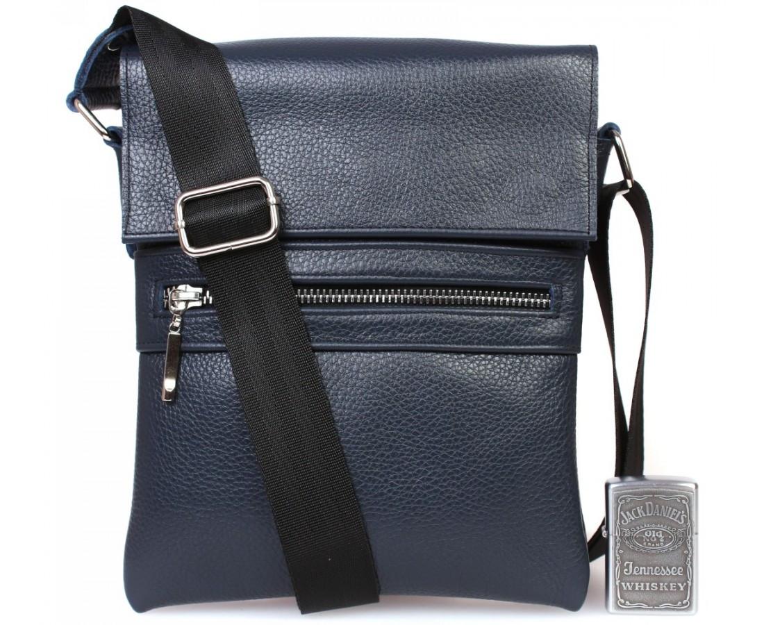Сильная мужская сумка из натуральной кожи синяя