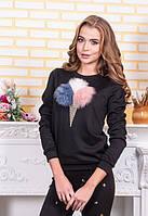Женские черный свитшот с дизайном морожена с меха