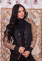 Женская модная куртка до длинного рукава черная