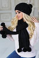 Комплект шапка и шарф крупной вязки 4152-10