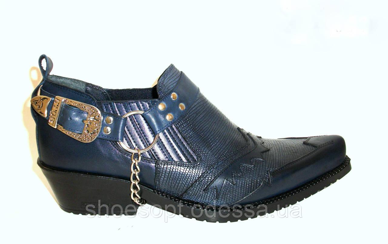 Настоящие Казаки Etor мужские туфли синие кожа с рептилией , фото 1