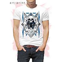 Всесезонна футболка чоловіча біла з черепом, фото 1