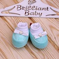 """Детские велюровые пинетки """"Bow"""" для новорожденных (бирюзовый)"""