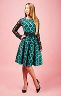 Молодежное женское платье Ксения с ажурными рукавами 791-1